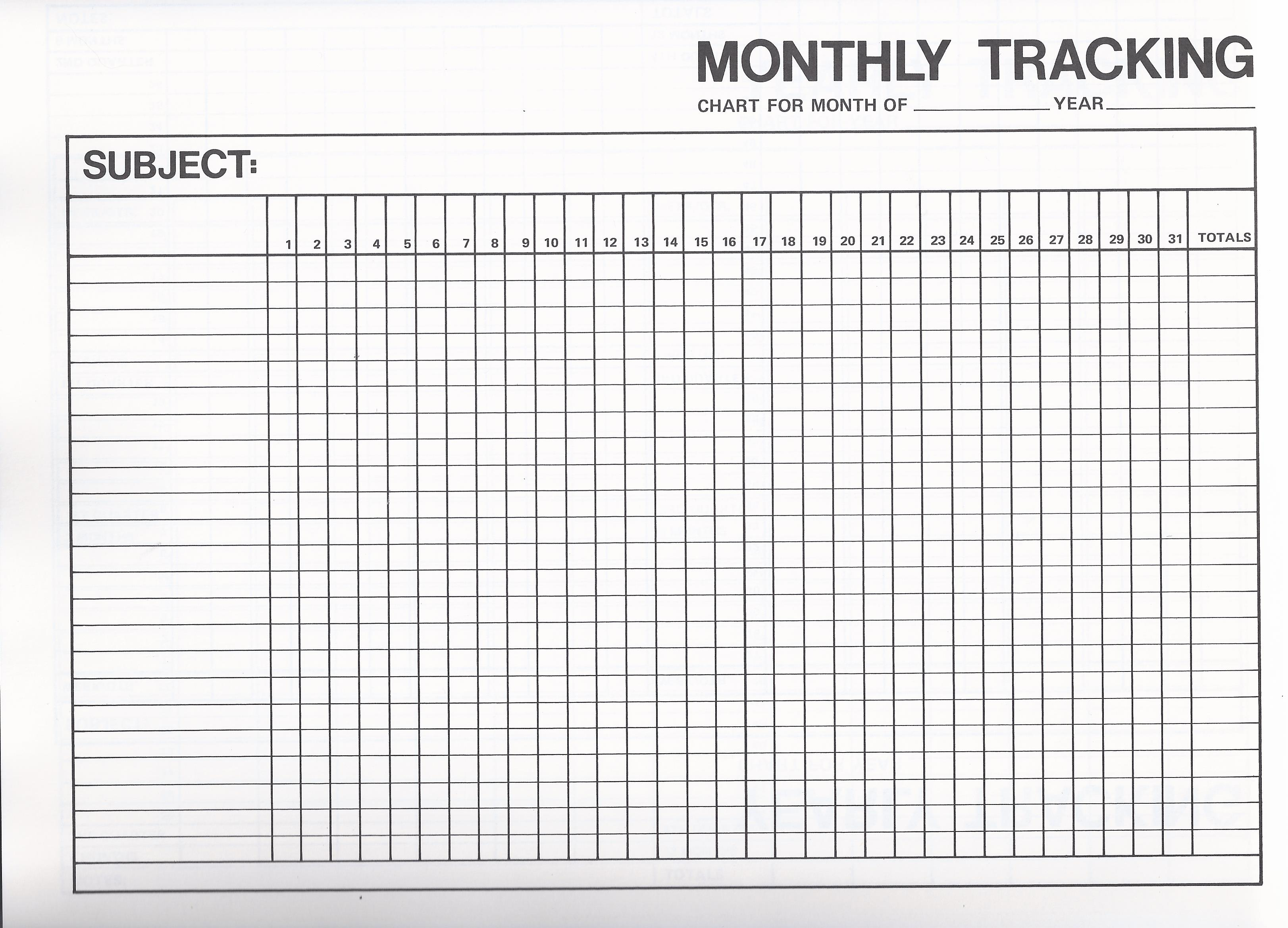 Monthly Tracking  Blank Forms Templates