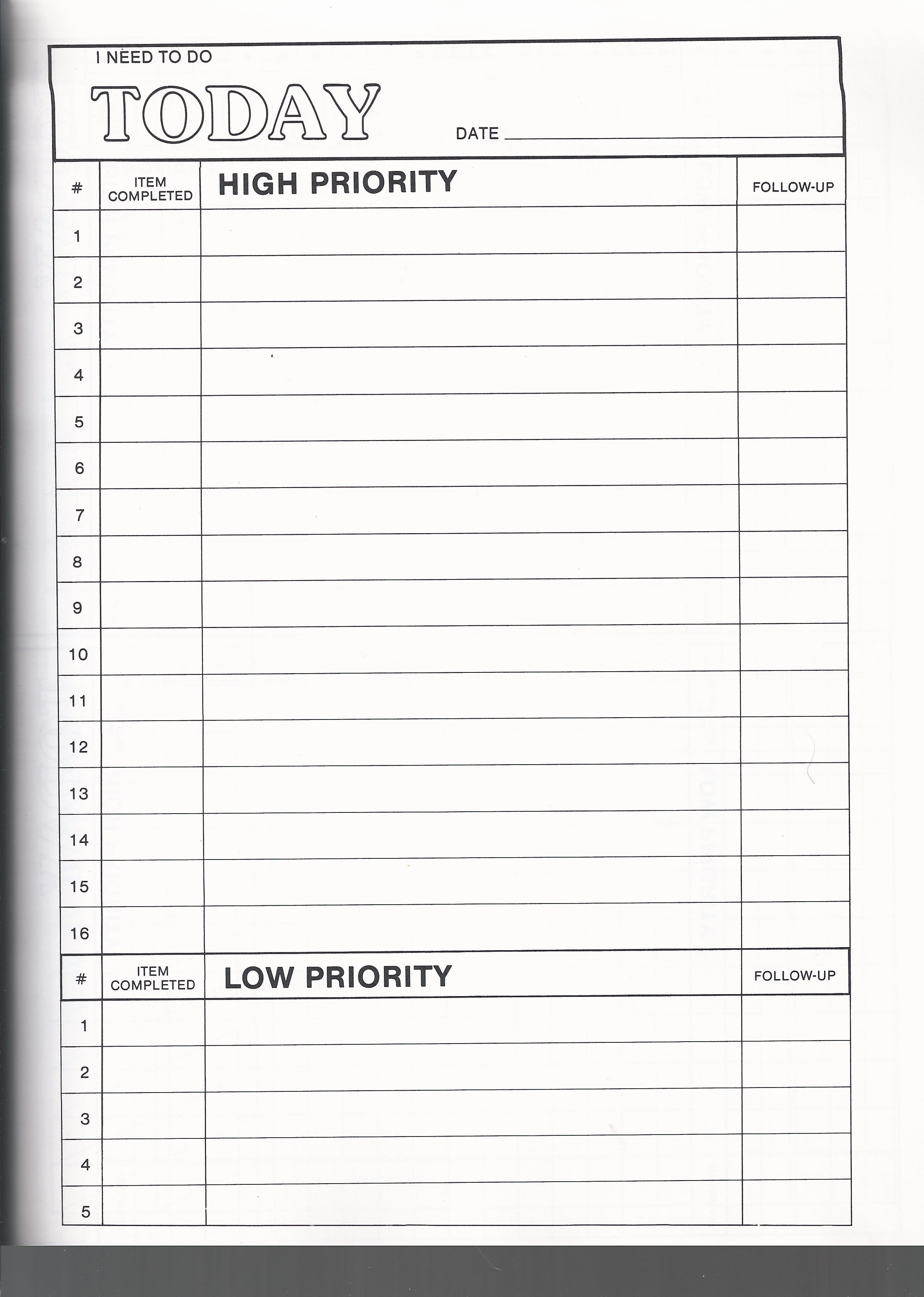To Do Priority List Today  Office To Do List Template