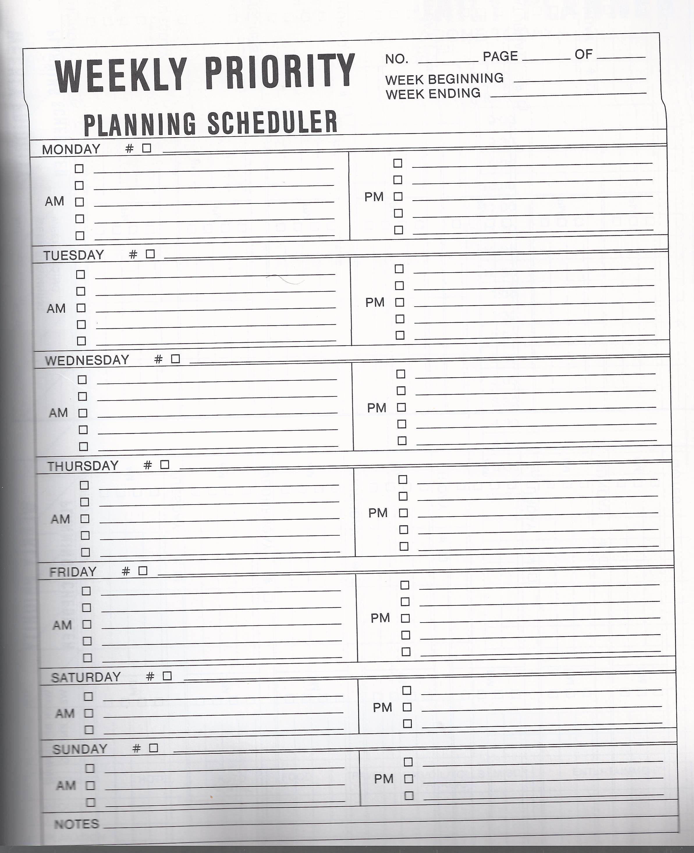 weekly priority planning scheduler