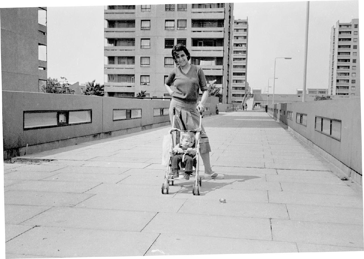 thamesmead housing development with stroller 1977