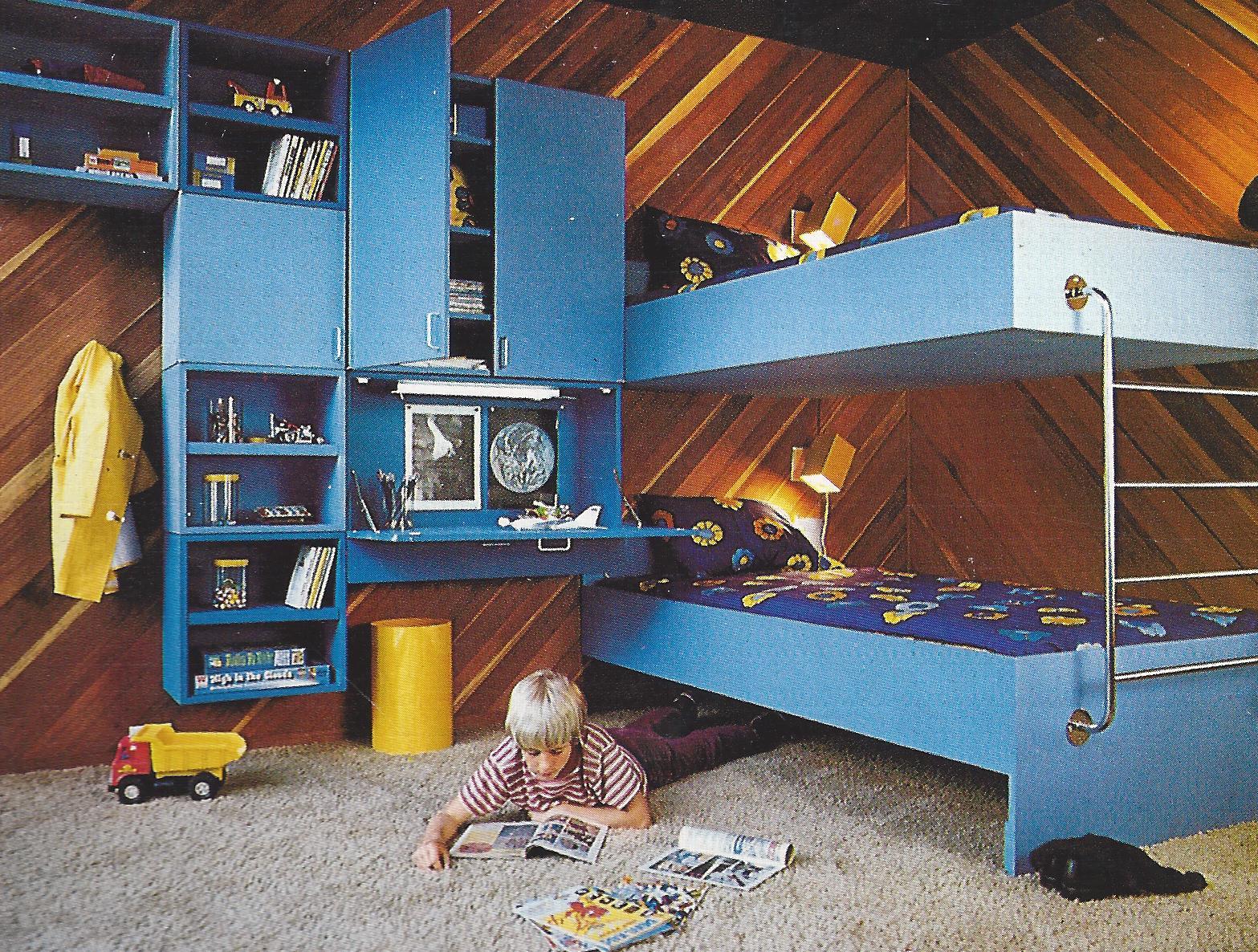 1970s kids bunk bed wall storage unit design