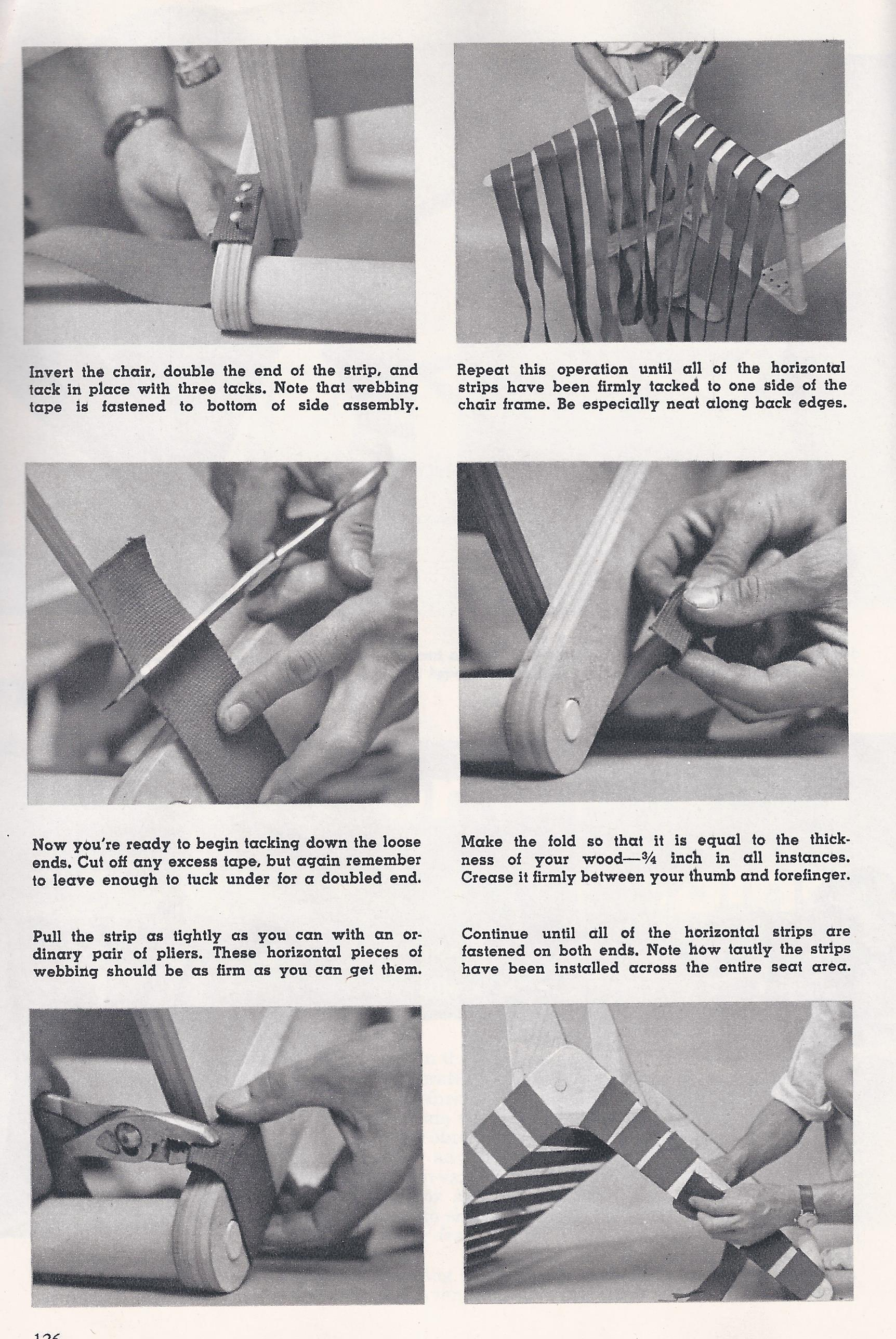 how to weave upholstery webbing detail