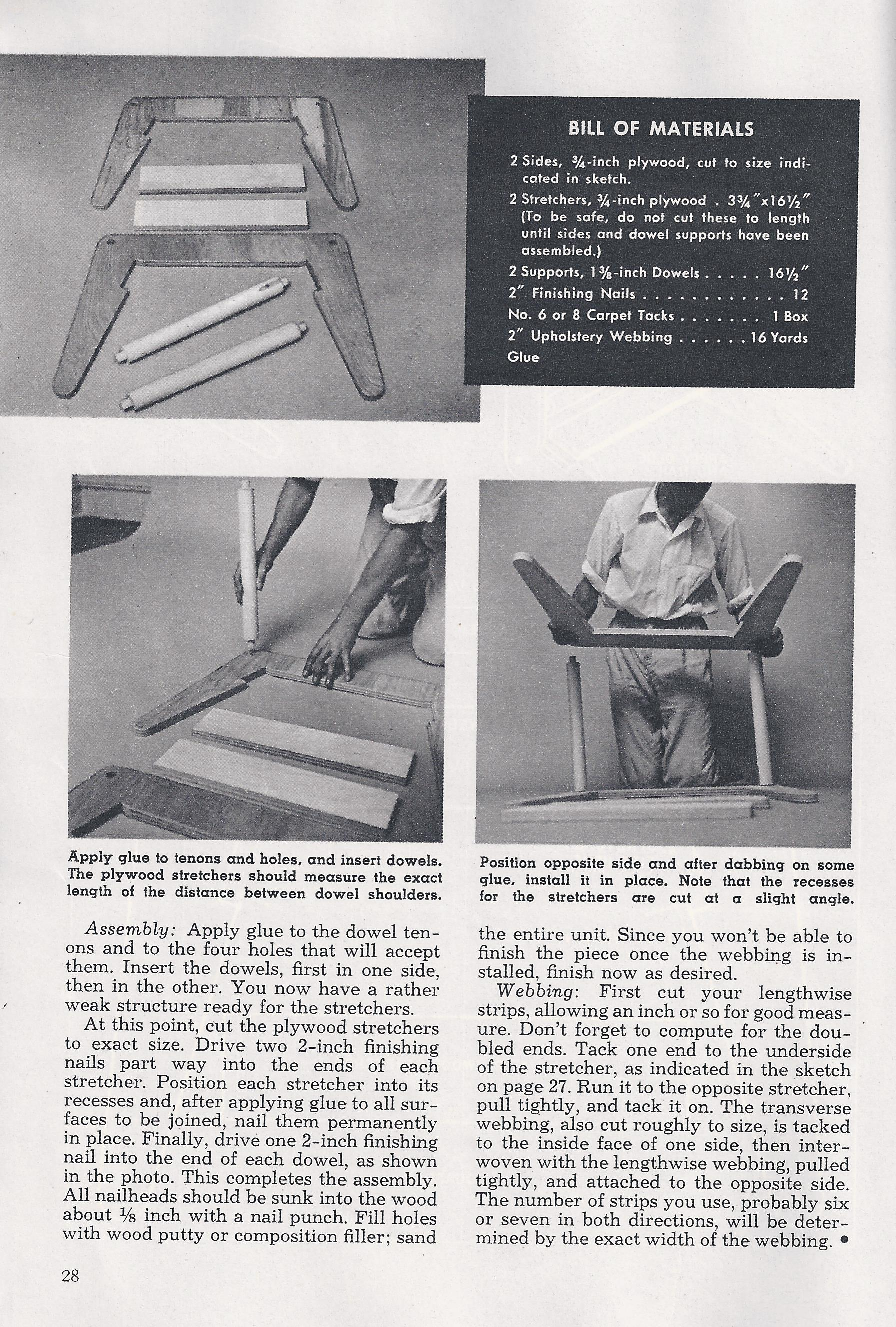 modern webbed stool how to build instructions
